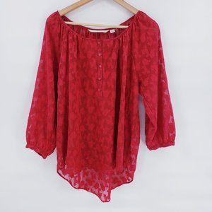 LC Lauren Conrad Red Sheer Women's Blouse